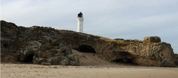 Covesea Lighthouse and Caves near Lossiemouth Moray
